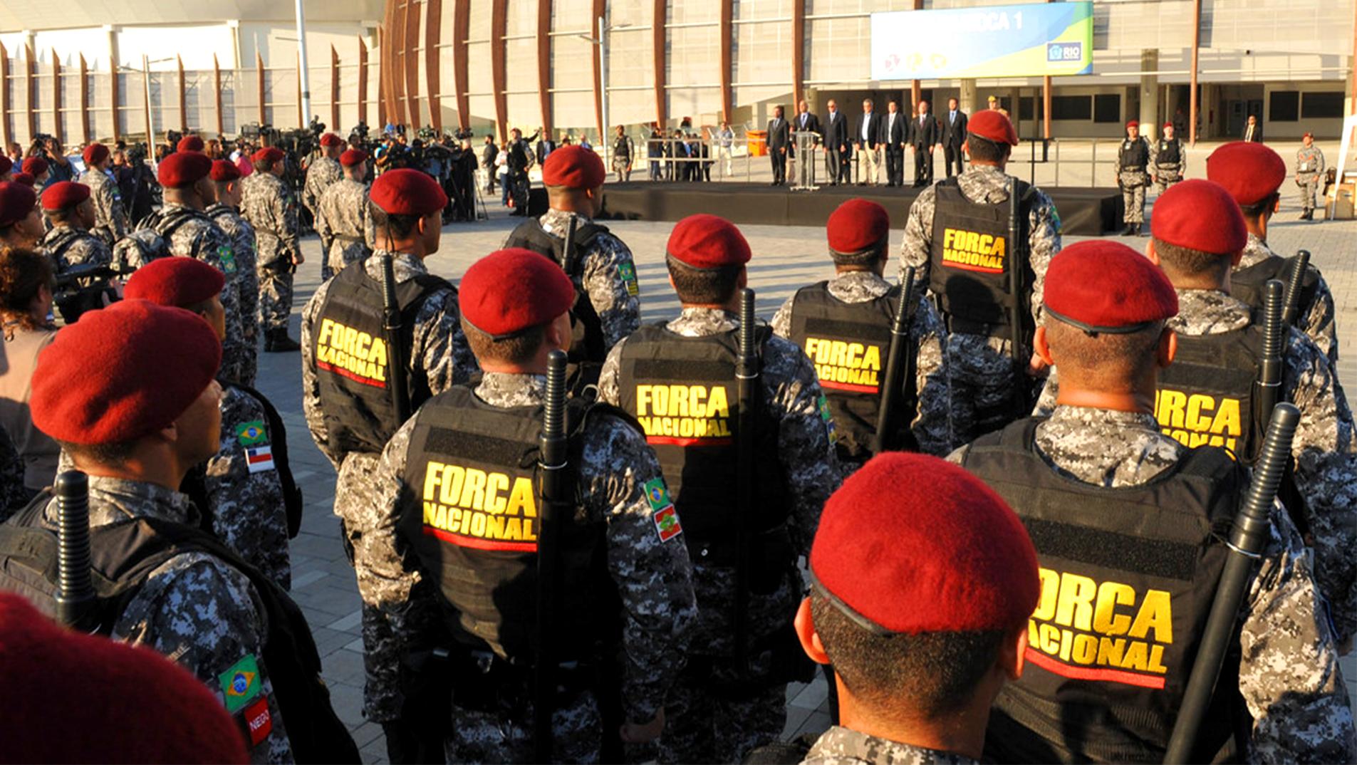 Apresentação da tropa da Força Nacional nas Olimpíadas